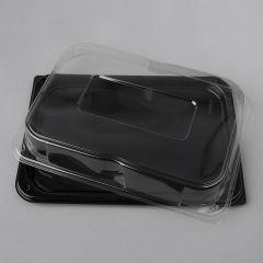 Paplātes 350x245cm, melnas ar caurspīdīgu vāku, PET, iepakojumā 25gab.