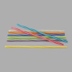 Kokteiļu salmiņi 25cm, krāsaini, svītraini, ø8mm, PP, iepakojumā 500gab.