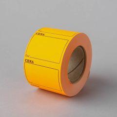 Pašlīmējošie cenrāži 50x36mm CENA EUR, oranži, rullī 600gab.