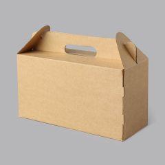 Gofrētā kartona kastes 215x100x110mm ar rokturi, brūnas, 14E (FEFCO 0217)