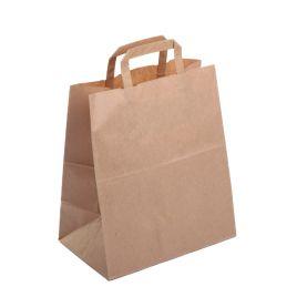 Papīra maisiņi 25x14x30cm ar plakaniem rokturiem, brūni, iepakojumā 25gab.